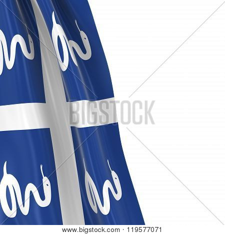 Hanging Flag Of Martinique - 3D Render Of The Martinican Flag Draped Over White Background