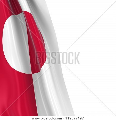Hanging Flag Of Greenland - 3D Render Of The Greenlandic Flag Draped Over White Background
