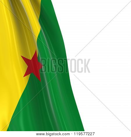 Hanging Flag of French Guiana - 3D Render of the French Guianan Flag Draped over white background