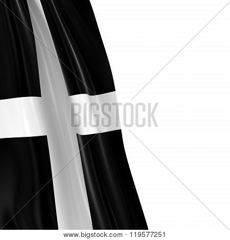 Hanging Flag Of Cornwall - 3D Render Of The Cornish Flag Draped Over White Background
