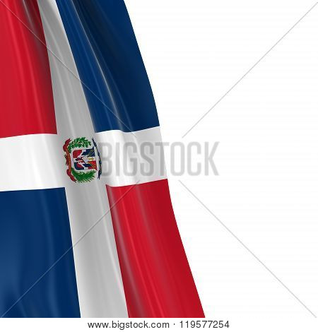 Hanging Flag Of The Dominican Republic - 3D Render Of The Dominican Flag Draped Over White Backgroun