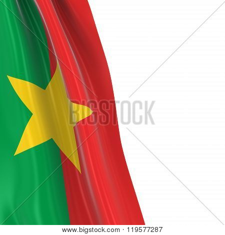 Hanging Flag Of Burkina Faso - 3D Render Of The Burkinabe Flag Draped Over White Background
