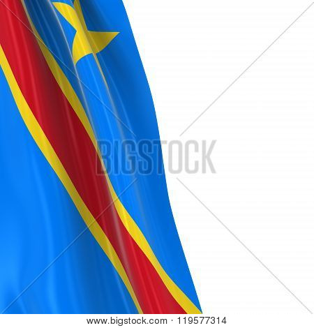 Hanging Flag Of Dr Congo - 3D Render Of The Congolese Flag Draped Over White Background