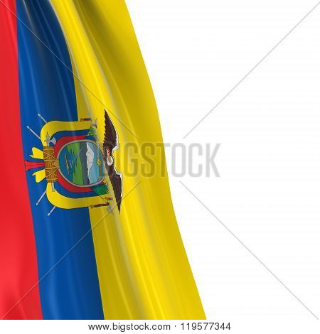 Hanging Flag Of Ecuador - 3D Render Of The Ecuadorian Flag Draped Over White Background