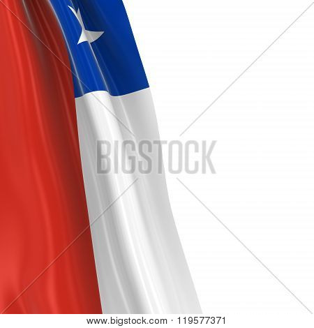 Hanging Flag Of Chile - 3D Render Of The Chilean Flag Draped Over White Background