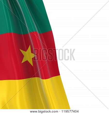 Hanging Flag Of Cameroon - 3D Render Of The Cameroonian Flag Draped Over White Background