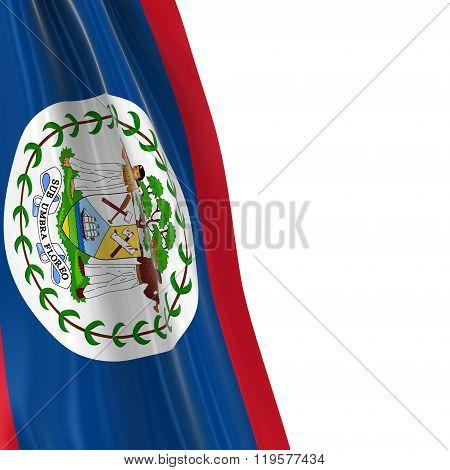 Hanging Flag Of Belize - 3D Render Of The Belizean Flag Draped Over White Background
