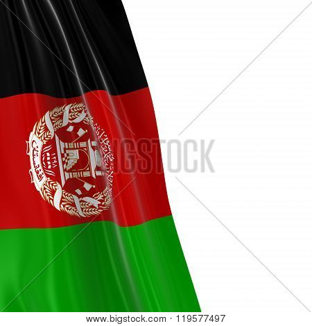 Hanging Flag Of Afghanistan - 3D Render Of The Afghan Flag Draped Over White Background