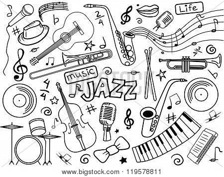 Jazz colorless set vector