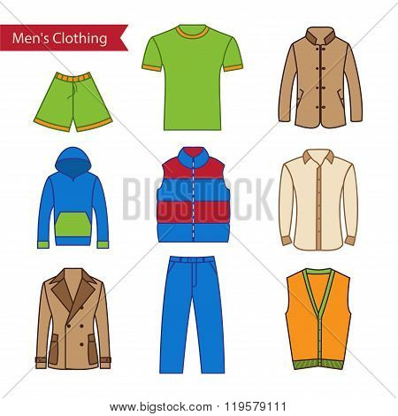 Set of vector icons of men's clothing for your design.