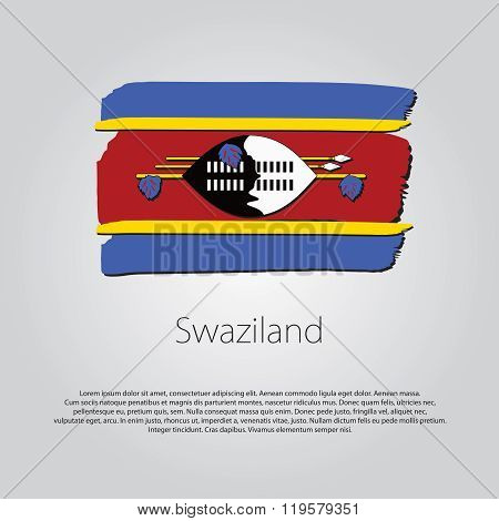 Swaziland Flag With Colored Hand Drawn Lines In Vector Format