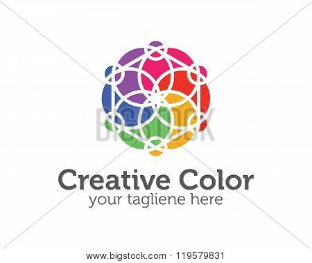 Business Corporate Spectrum Color Logo Design Template. Simple And Clean Flat Design Of Colorful Spe