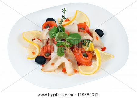 Assorted Several Kinds Of Fish With Olives, Lettuce, Lemon, Rosemary.