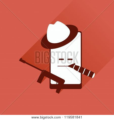 Flat web icon with shadow mobile bandit