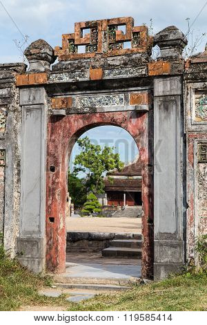 Old Gate In Imperial Royal Palace Of Nguyen Dynasty In  Hue