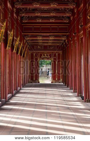 Walkway In Imperial Royal Palace Of Nguyen Dynasty In  Hue