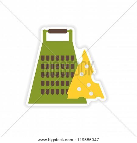 stylish paper sticker on a white background Grater and cheese