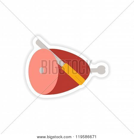 stylish paper sticker on white background ham and knife