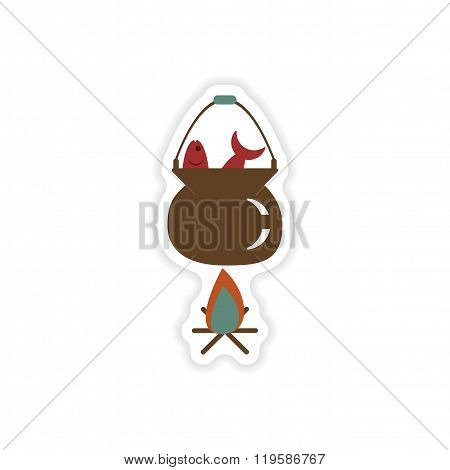stylish paper sticker on white background fish soup fire