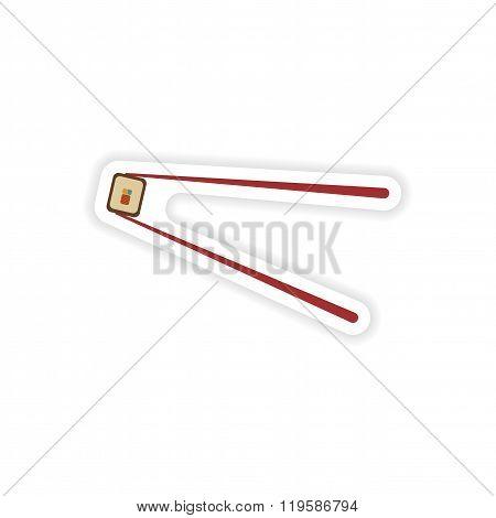 stylish paper sticker on white background sushi roll and chopsticks