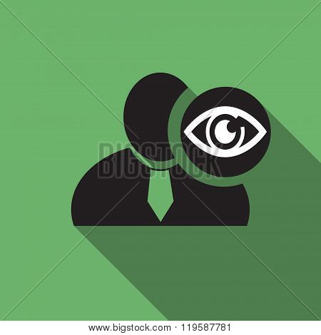 Eye Black Man Silhouette Icon On The Vintage Green Background, Long Shadow Flat Design Icon For Foru
