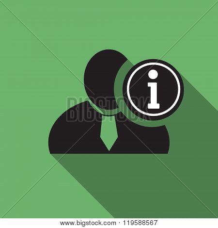 Info Black Man Silhouette Icon On The Vintage Green Background, Long Shadow Flat Design Icon For For