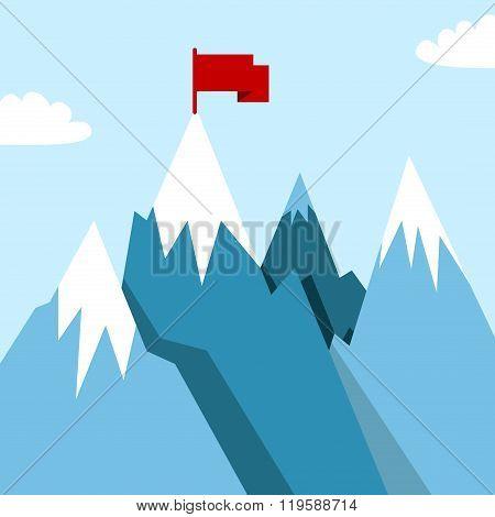 Mountain Landscape In Flat