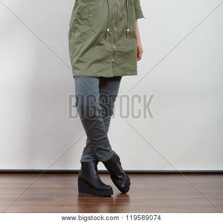 Closeup Woman In Dark Green Jacket. Autumn Fashion