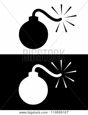 Vector Bomb Symbol in Black and Reverse