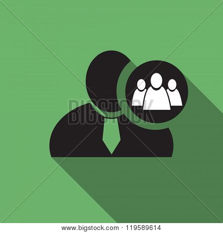 Referral Or Group Black Man Silhouette Icon On The Green Vintage Background, Long Shadow Flat Design
