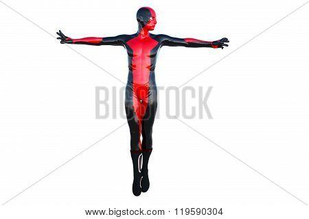 one flying male superhero costume latex