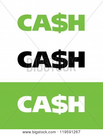 Vector cash word mark in colour, black and reverse