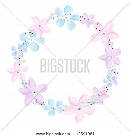 Wreath Of Abstract Watercolor Flowers On White Background