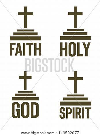 Vector Religious Cross Symbol Set