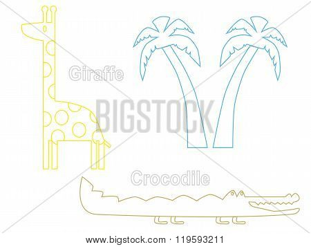 Silhouette of giraffe, crocodile and palm tree  in vector