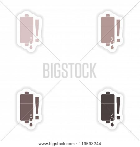 Set paper stickers on white background mobile battery is low
