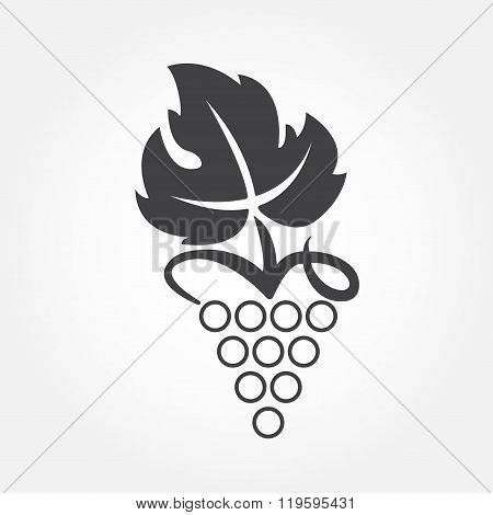 Grape icon or symbol. Design element for winemaking, viticulture, wine house. Vector illustration.