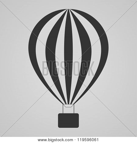Hot Air Balloon On Gray Background, Vector Illustration