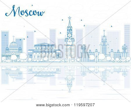 Outline Moscow skyline with blue landmarks. Vector illustration. Business travel and tourism concept with historic buildings. Image for presentation, banner, placard and web site.