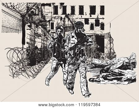 War District - An Hand Drawn, Freehand, Vector