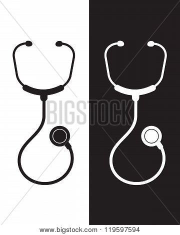 Vector Stethoscope in Black and Reverse