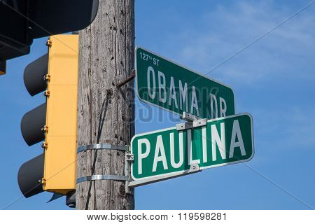 Intersection Of Obama Drive And Paulina Street In Calumet Park,  Illinois