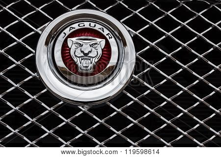 Emblem Of Jaguar Company On Car At Daytime