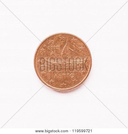 Greek 1 Cent Coin Vintage