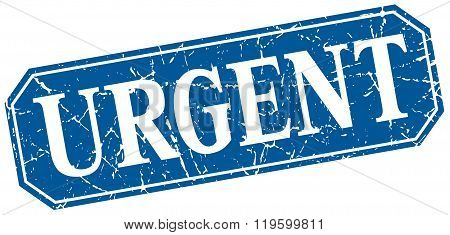 urgent blue square vintage grunge isolated sign