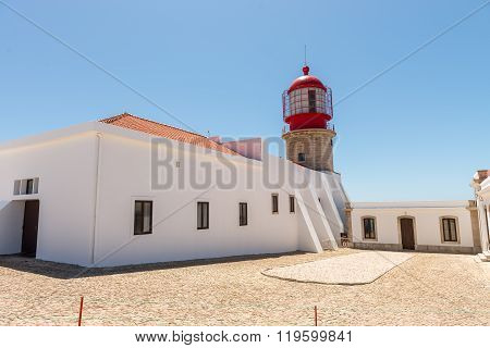 Lighthouse In Cabo Vicente Near Sagres City In Portugal