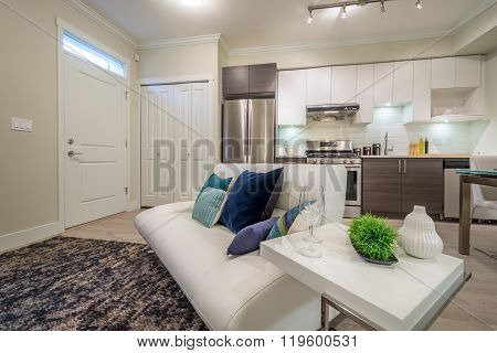 Bright living room with sofa and kitchen with dinner table. Interior design.
