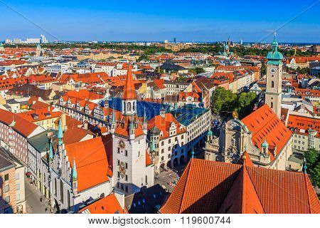 Old Town Hall And Heiliggeistkirche, Munich, Germany