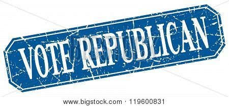vote republican blue square vintage grunge isolated sign