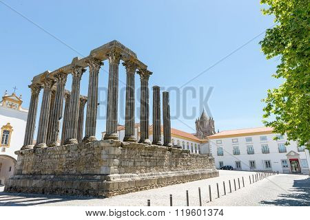 Dianna Temple And Cathedral Tower In Evora.